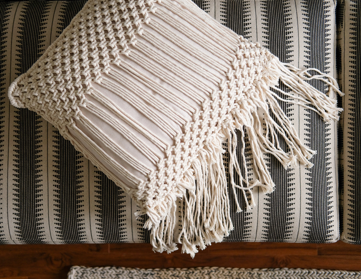 Back of Lauren Wright's Modern Macrame Pillow Cover