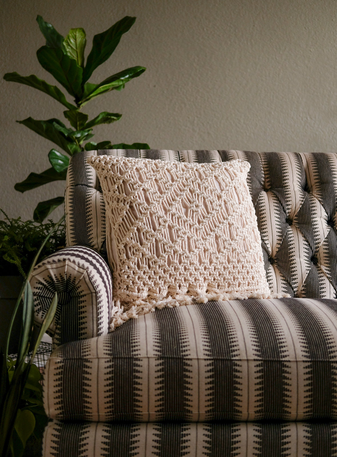 Modern Macrame Pillow Cover