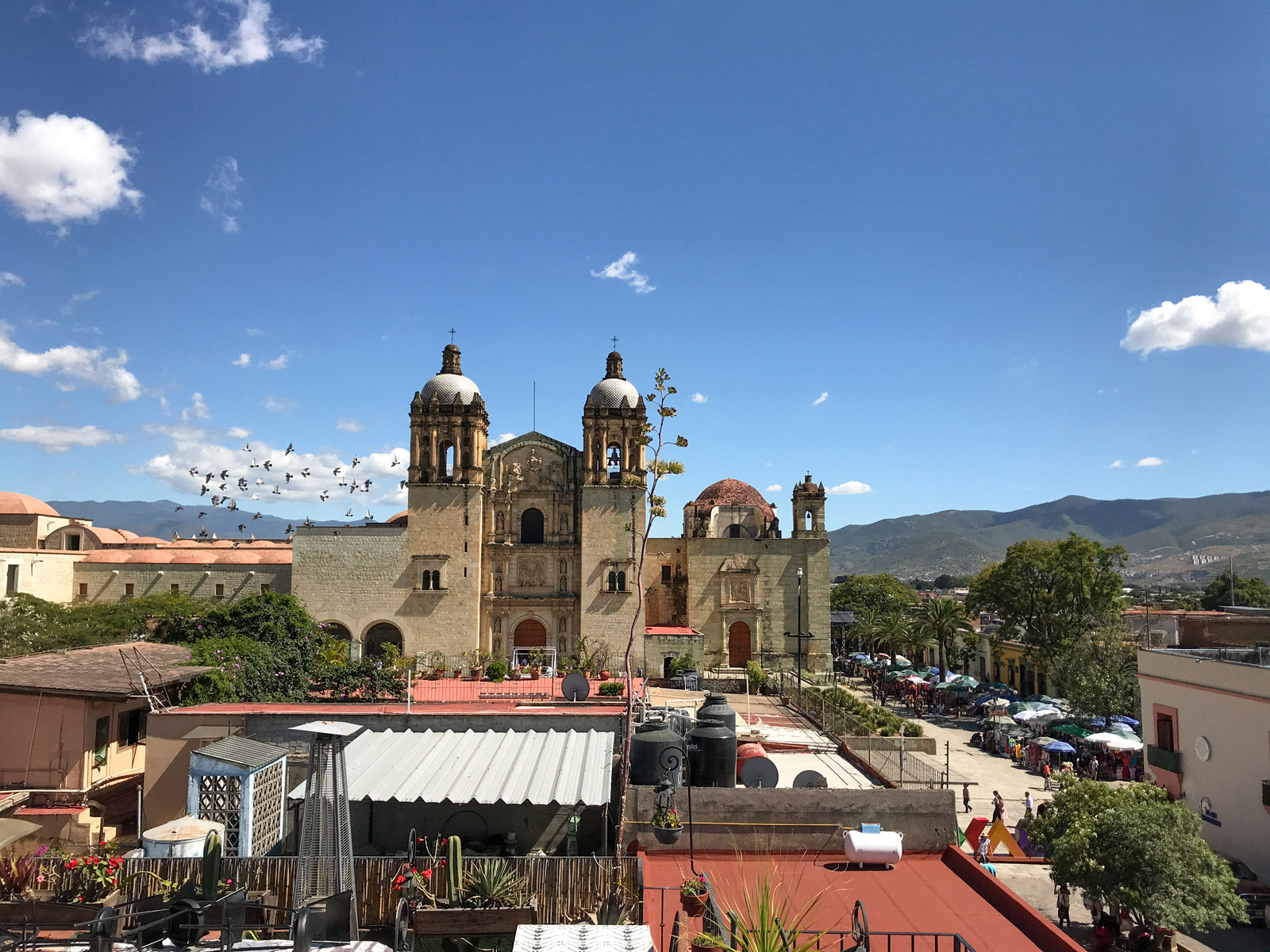 Oaxaca City scape with a large church and blue skies