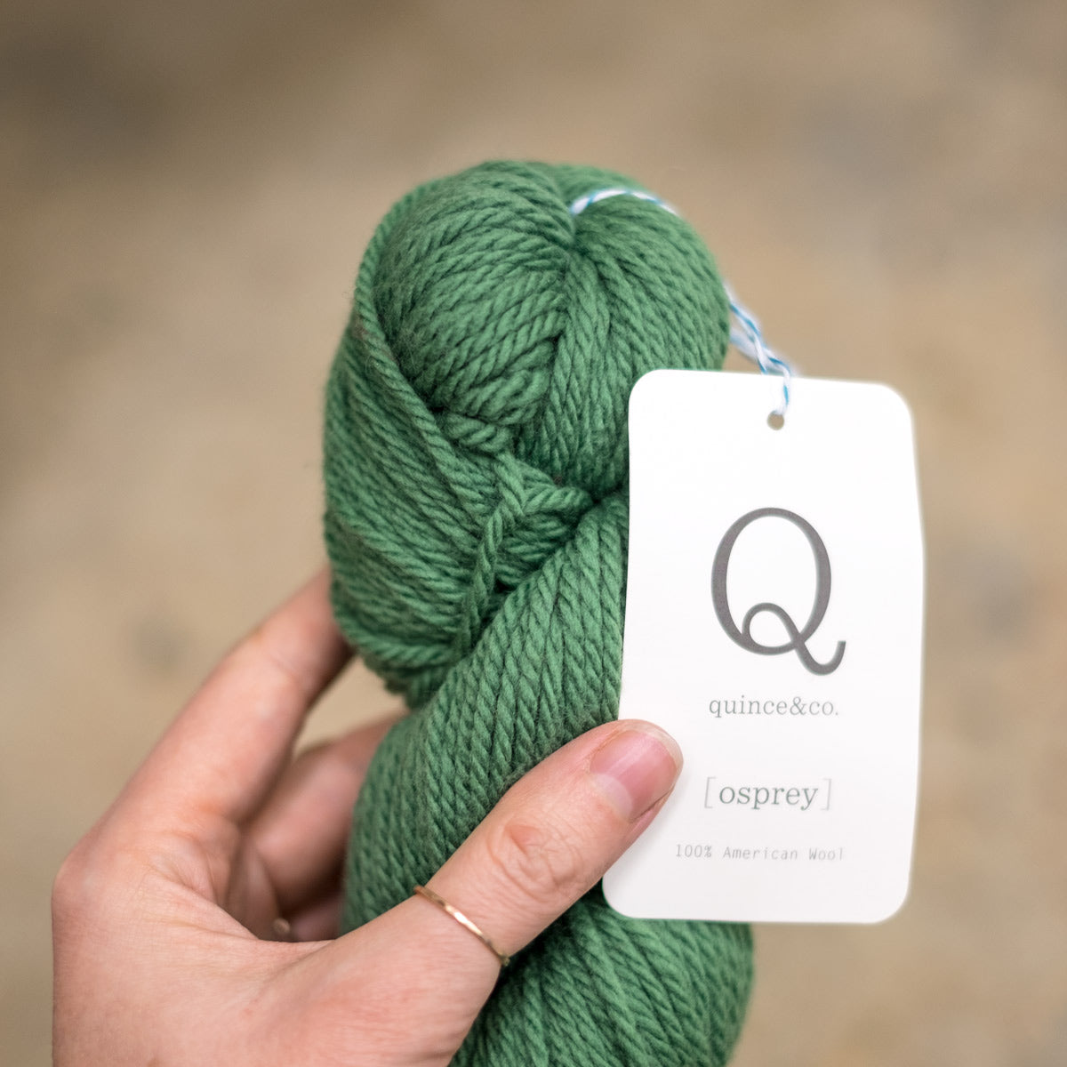 a skein of Quince and Co Osprey yarn in Parsley, a vibrant green