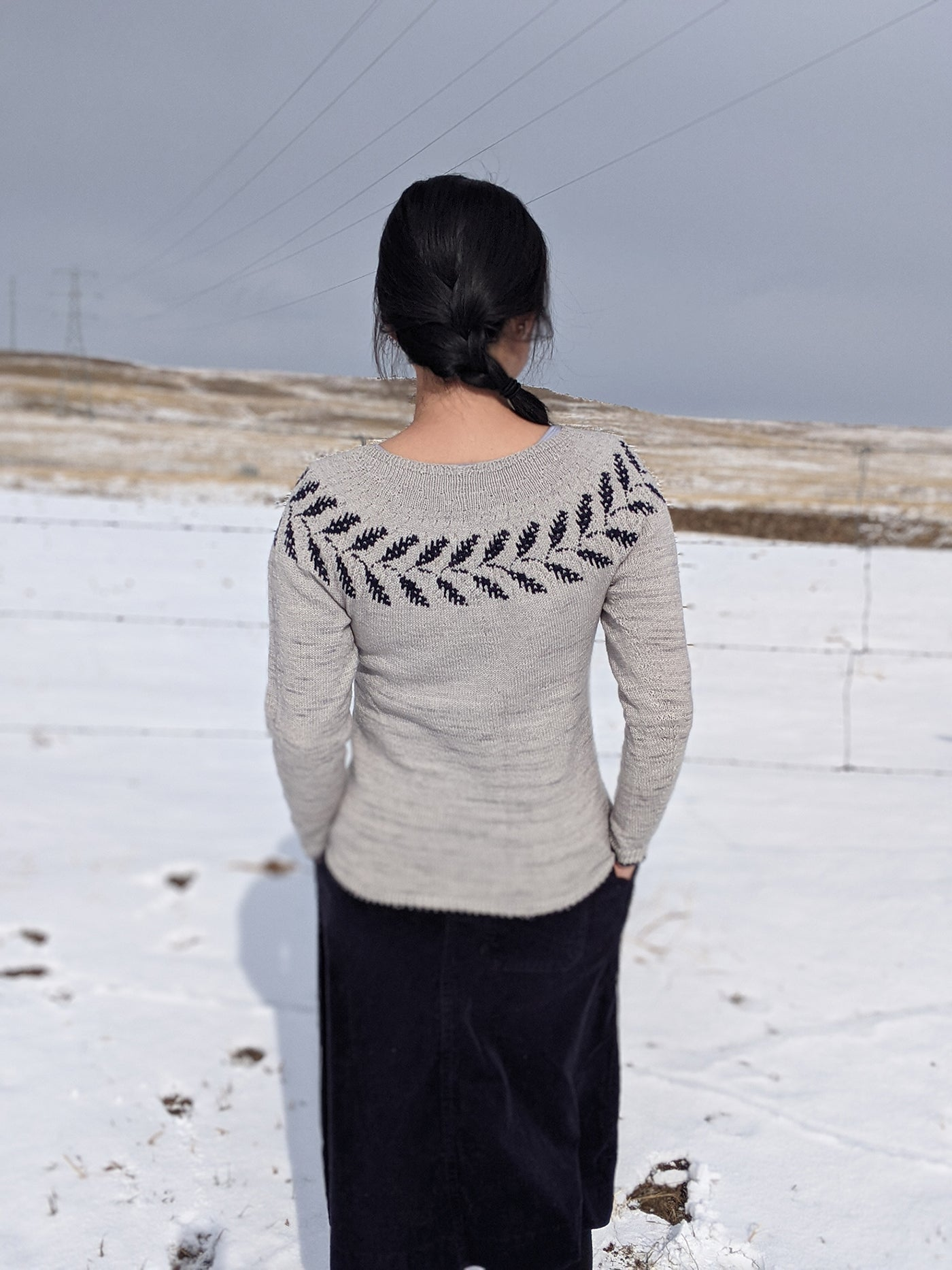 This is an image of a woman with her back to the camera wearing a sweater with a design along the collar