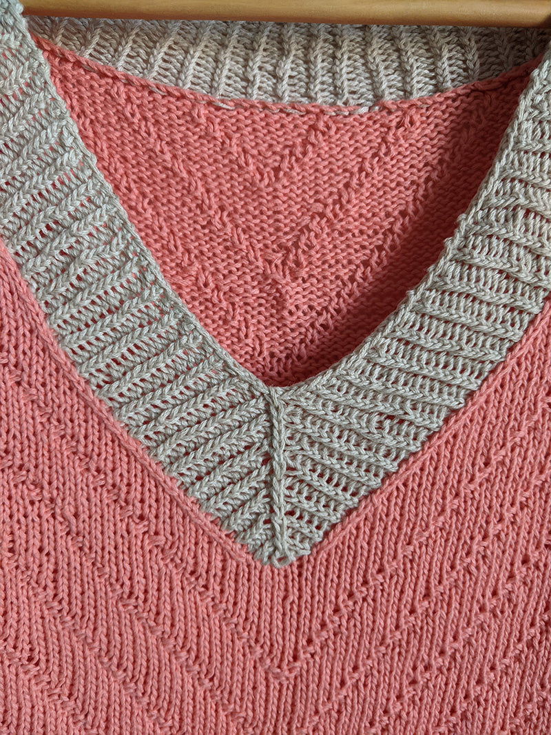 This is a details shot of a neckline on a knitted shirt