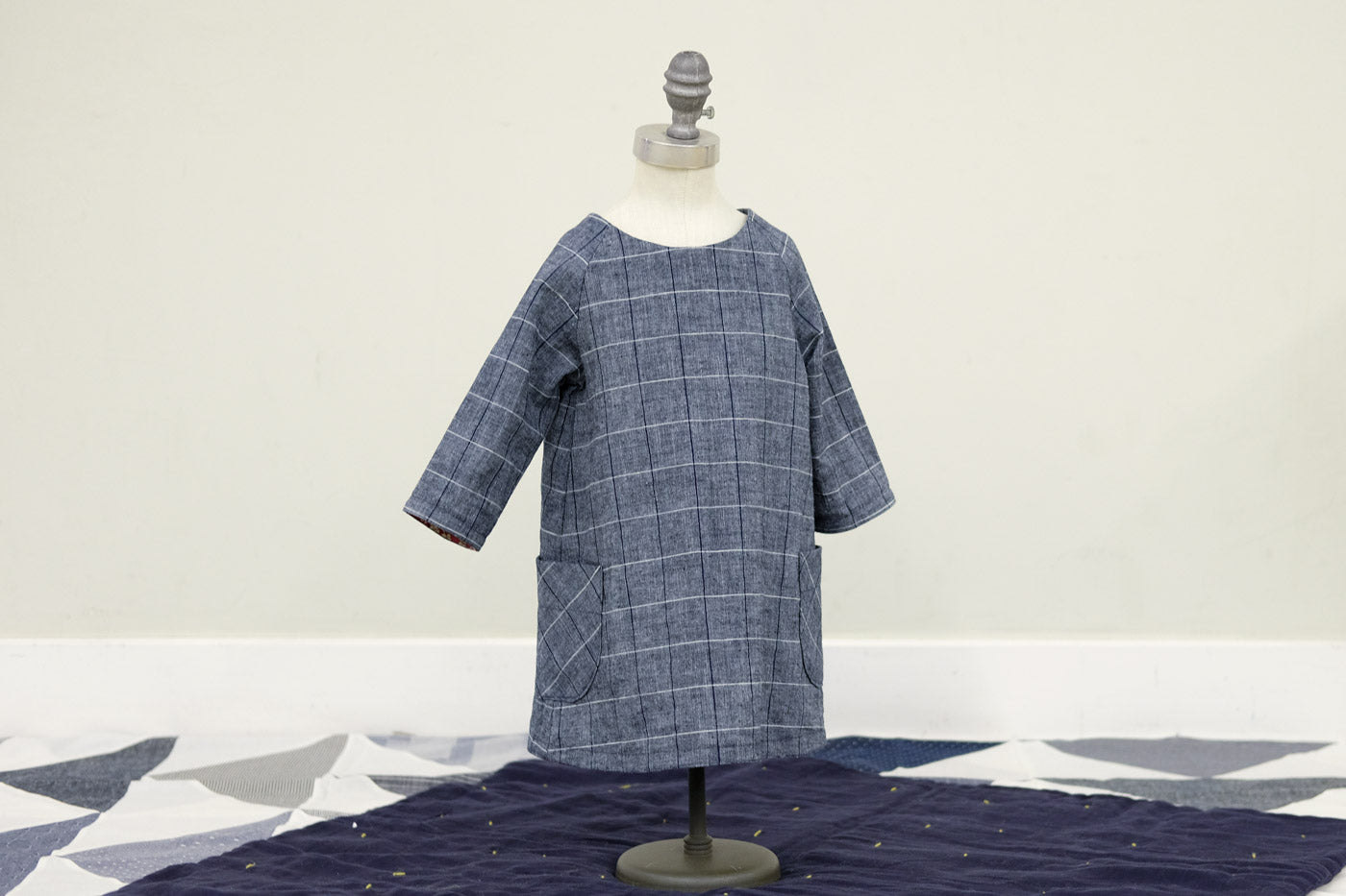 The Raglan Dress on a mini-mannequin