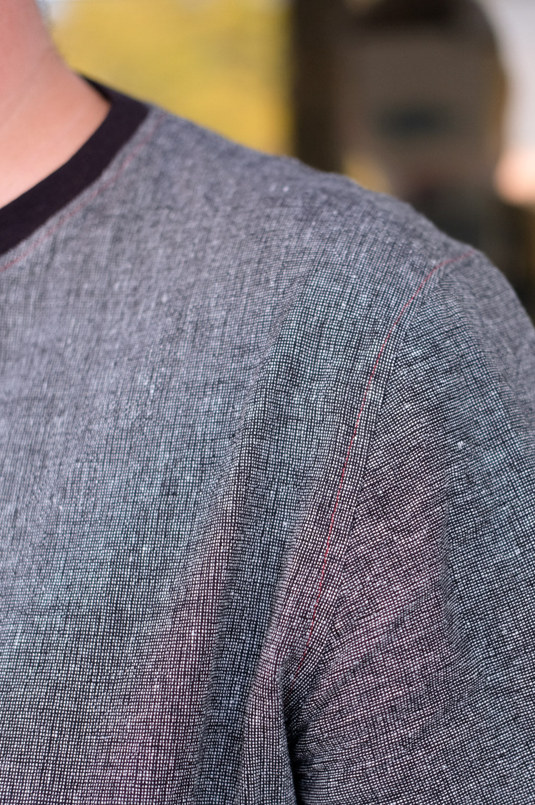 Red Stitching Detail on The Merchant and Mills Tee Shirt