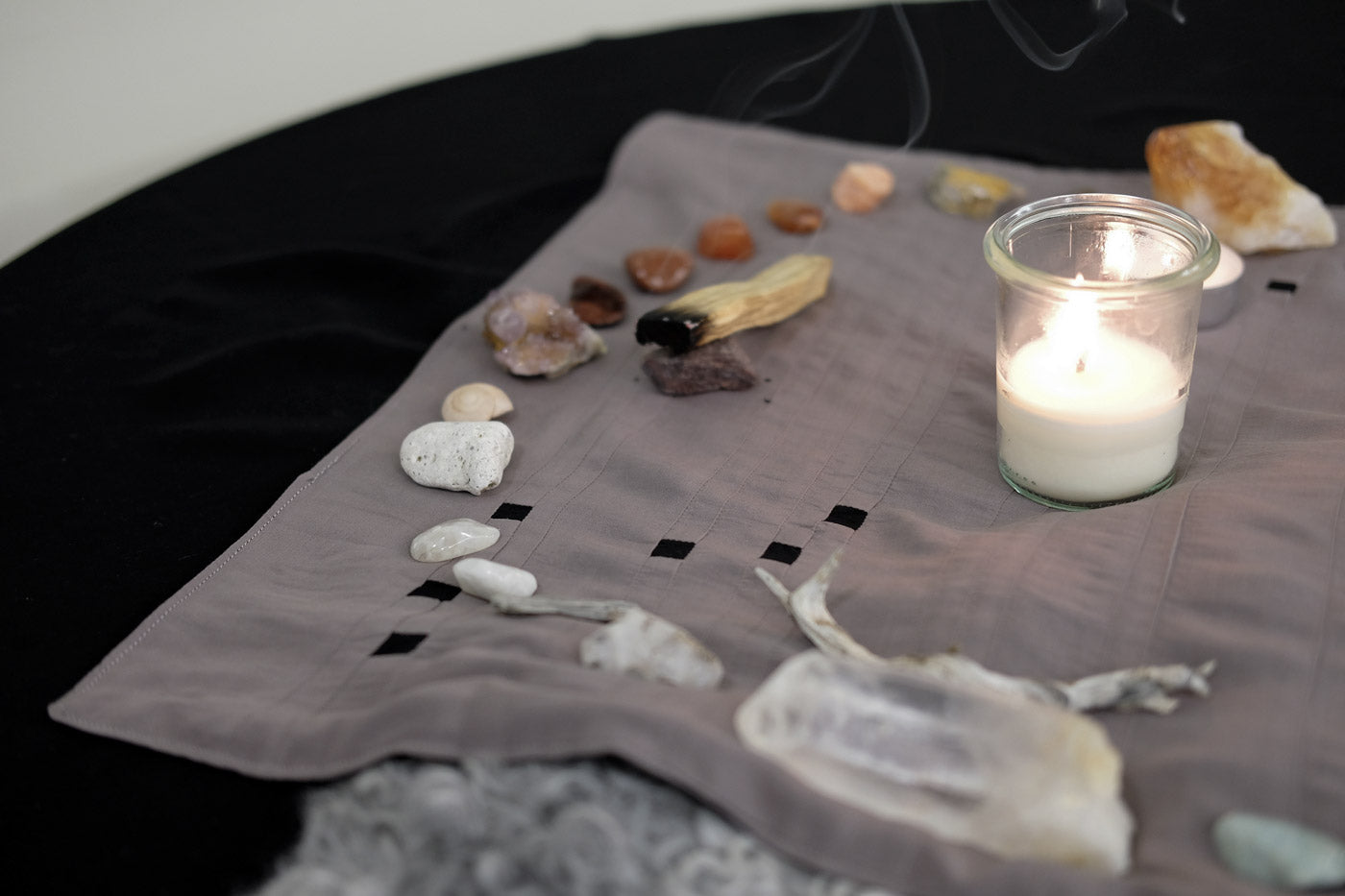 Taupe side of the Constellations Alter/Tarot Cloth