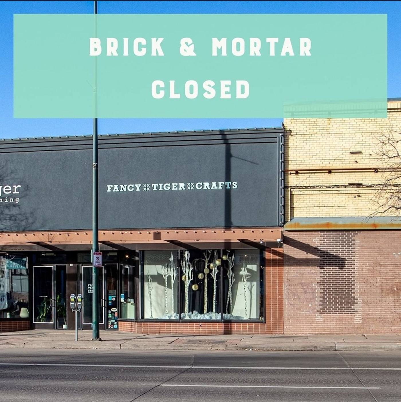 Store front with text overlay