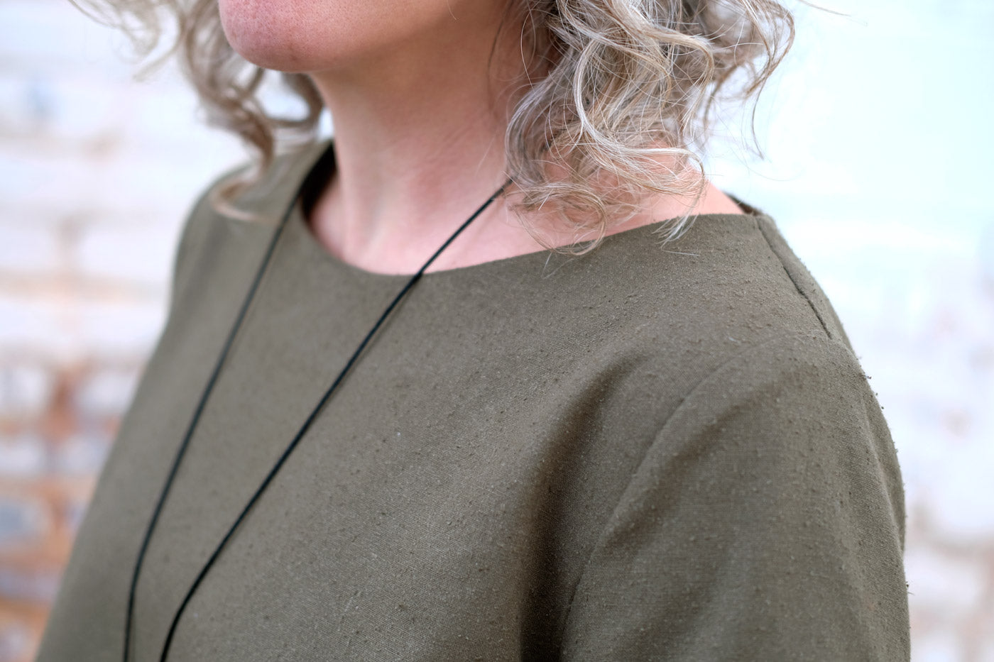 Detail of the Deep Olive Silk Noil