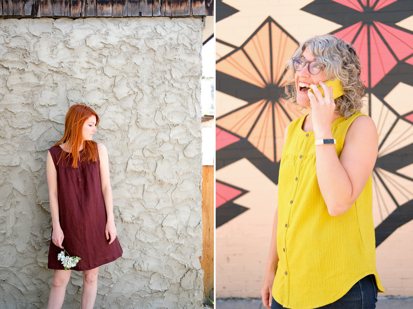 Two Sleeveless Bromes- A Alison Glass Mariner Cloth shirt and a Burgundy Linen dress