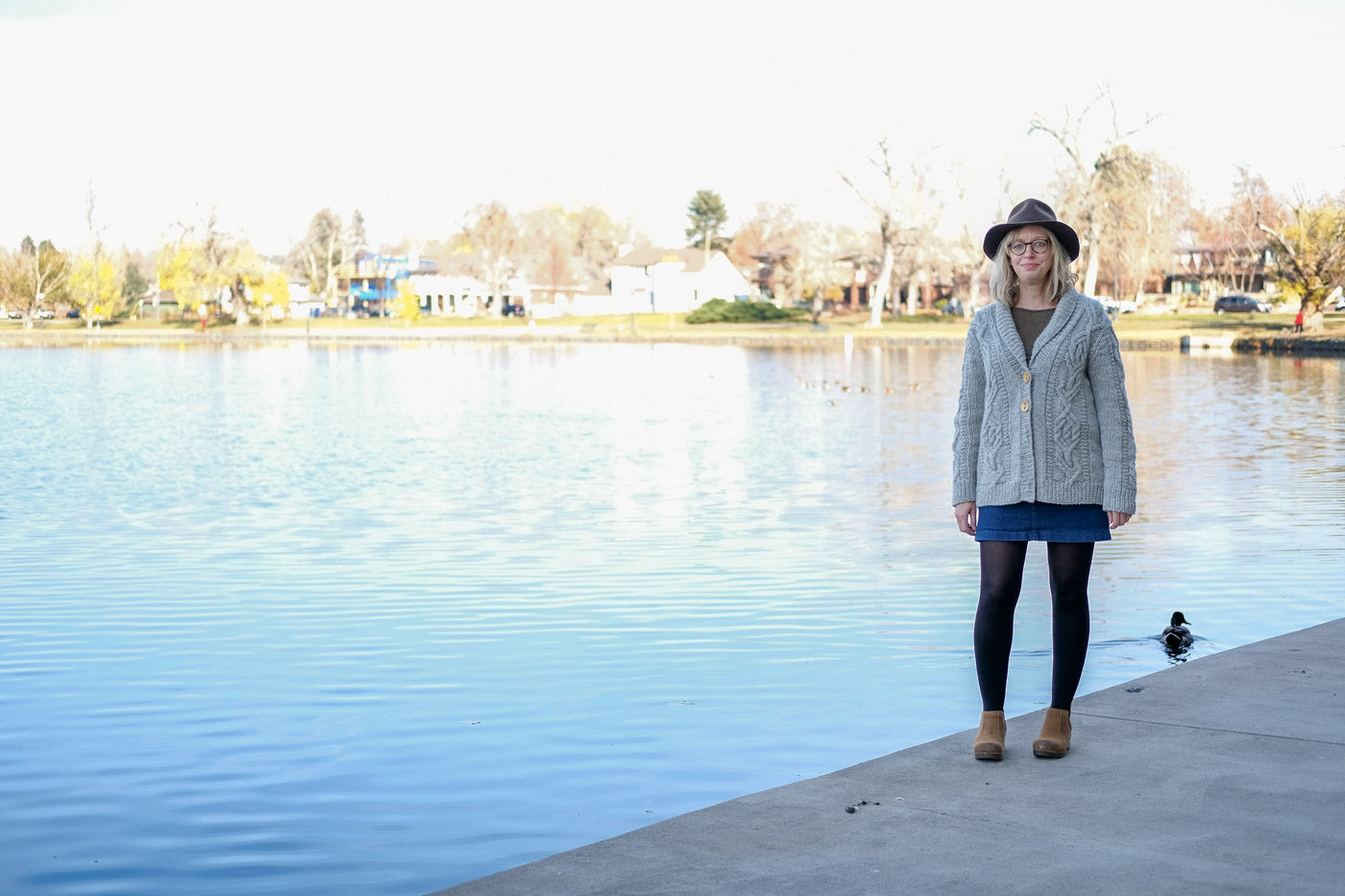 Cabled Junegrass Cardigan by the lake