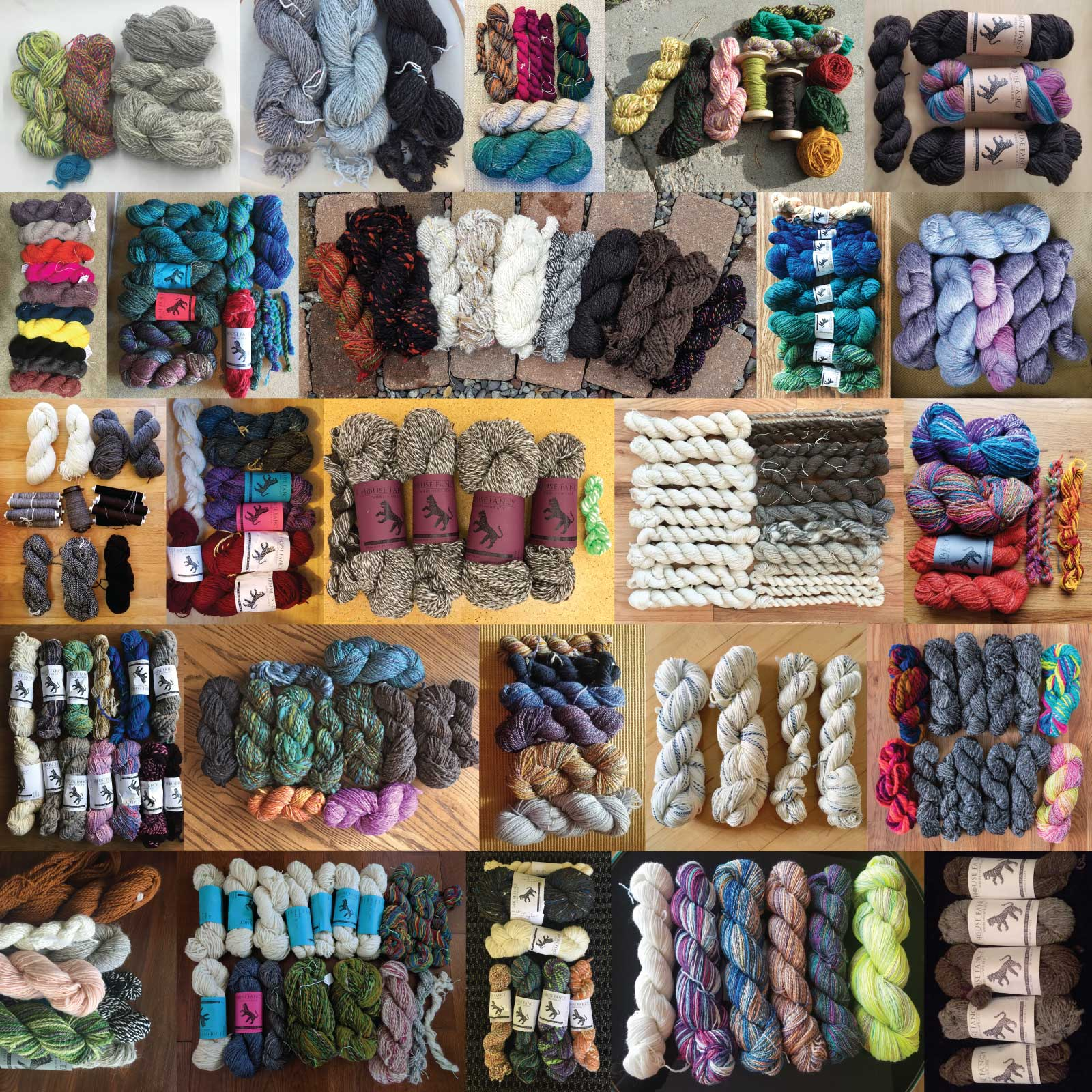 A collage of all Team Fancy Tiger's spinzilla yarn - 124648 yards!