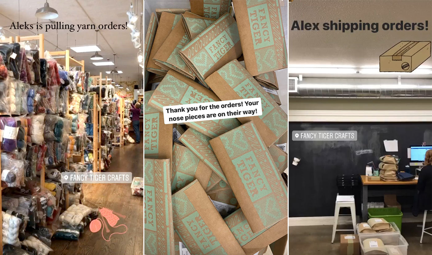 Three images, from left to right: Towers of bagged yarn filed on shelves, which has turned our beautiful shop into a warehouse; a pile of packages fill the second photo; Alex sits at a computer in what used to be a classroom, she is at a shipping station making piles of packages to send out.