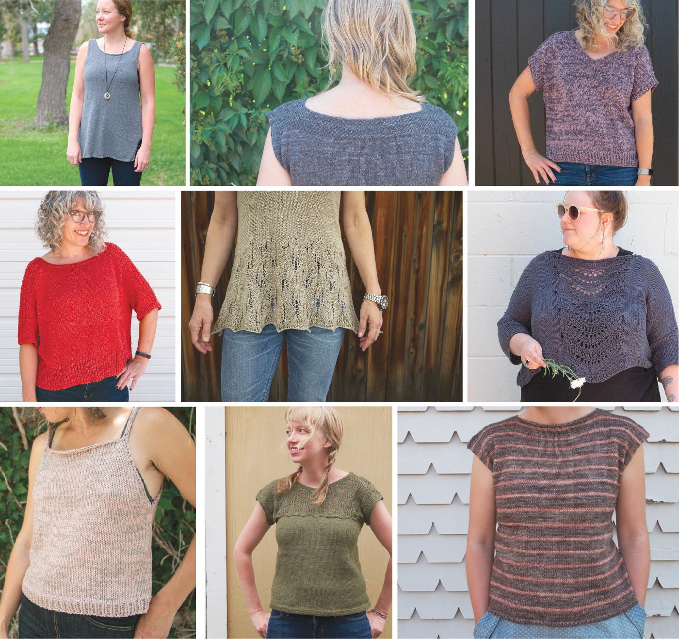 A collage of nine photos, each features one of the fancy tiger folks wearing various summery handknit tops. Several feature lacework, some are simple tanks, and some are simple tees.