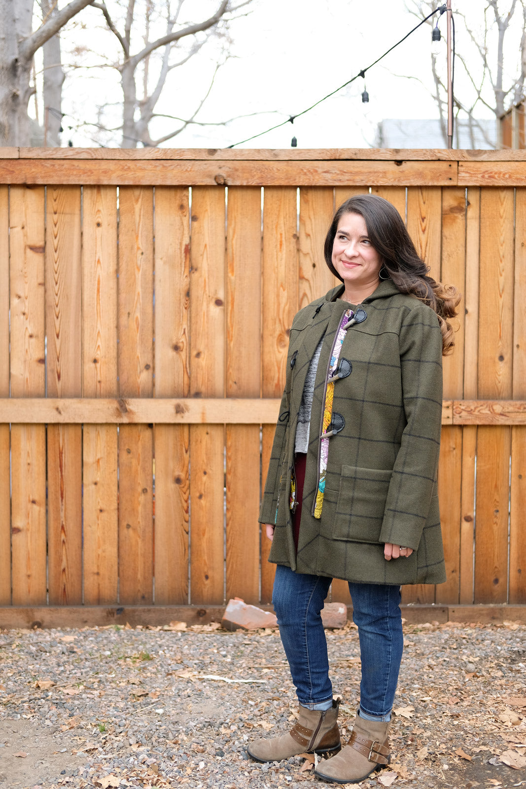 Tiffani in her Army Green Pendleton Cascade Duffle Coat