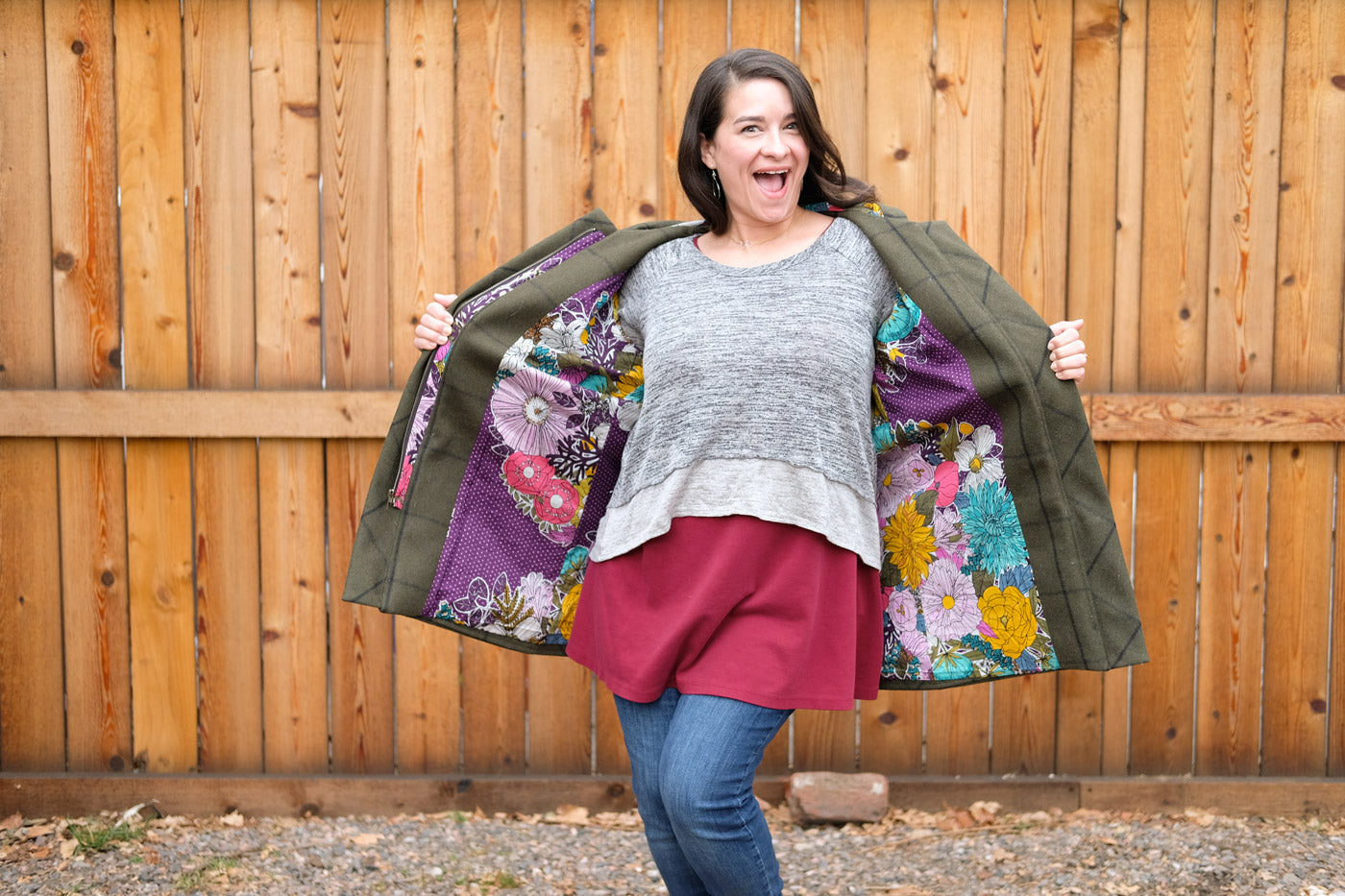 Tiffani showing off her surprise fun lining in her Duffle Coat