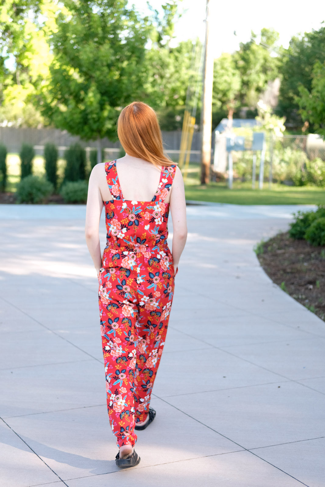 The Marigold Jumpsuit from behind.