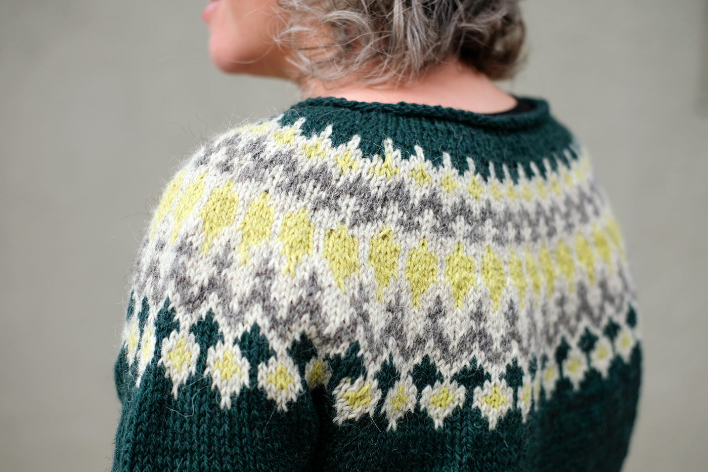 Yoke details on the Treysta sweater from Laine Magazine Issue 3