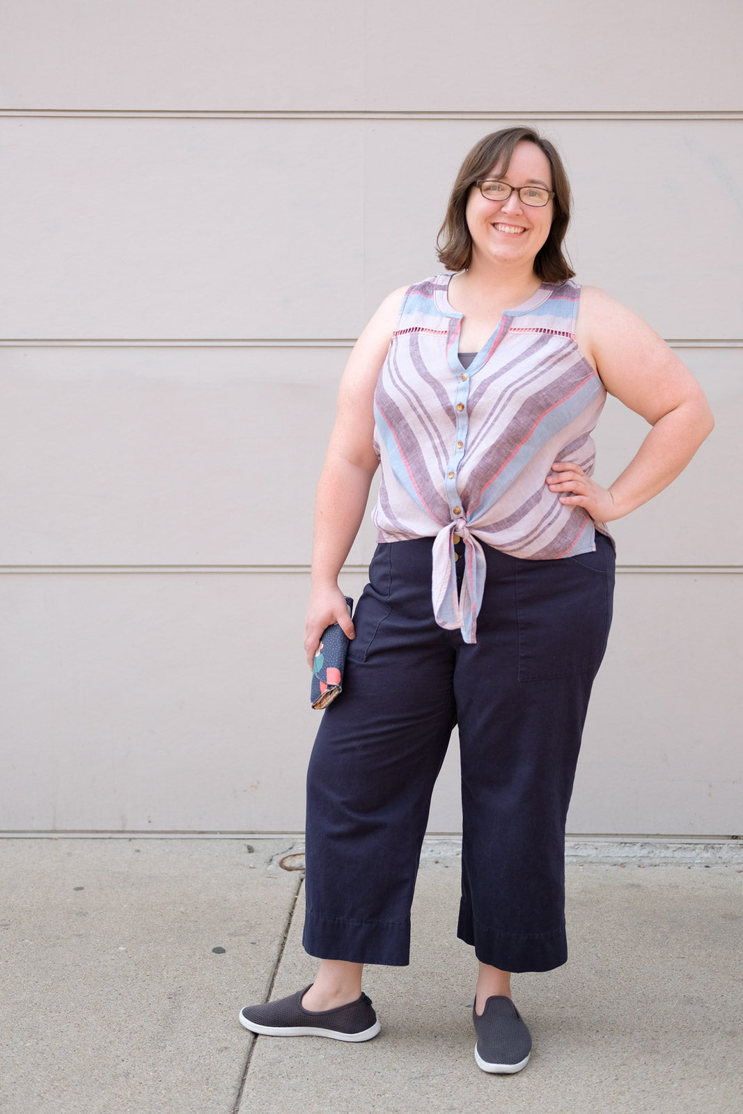 Caitlin in her Navy Blue Lander Pants