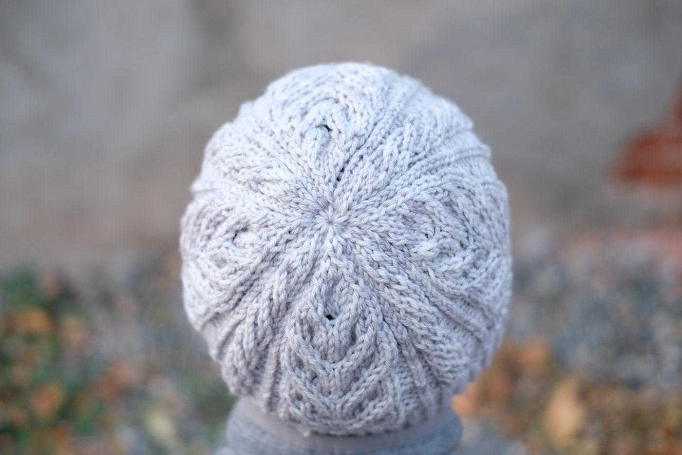 Victoria's Grey Lake Reed hat from above showing clean decrease pattern