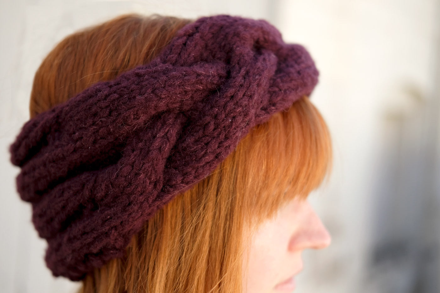 Lauren's Simkcoe Headband out of Woolfolk Hygge