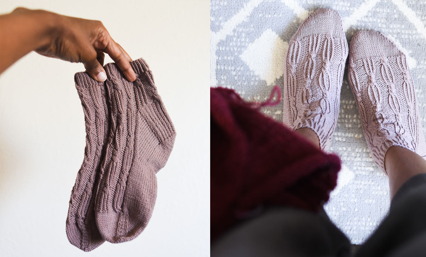 Two images, on the left a hand holds a pair of cables ankle socks. On the right an image looking down at two feet wearing the Apart Together cabled ankle socks.