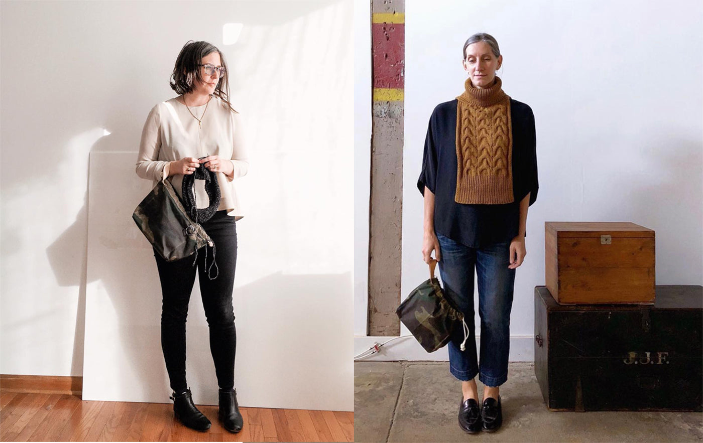 This is an image of Jen Beeman and Karen Templer both standing in different locations holding a knitting bag.