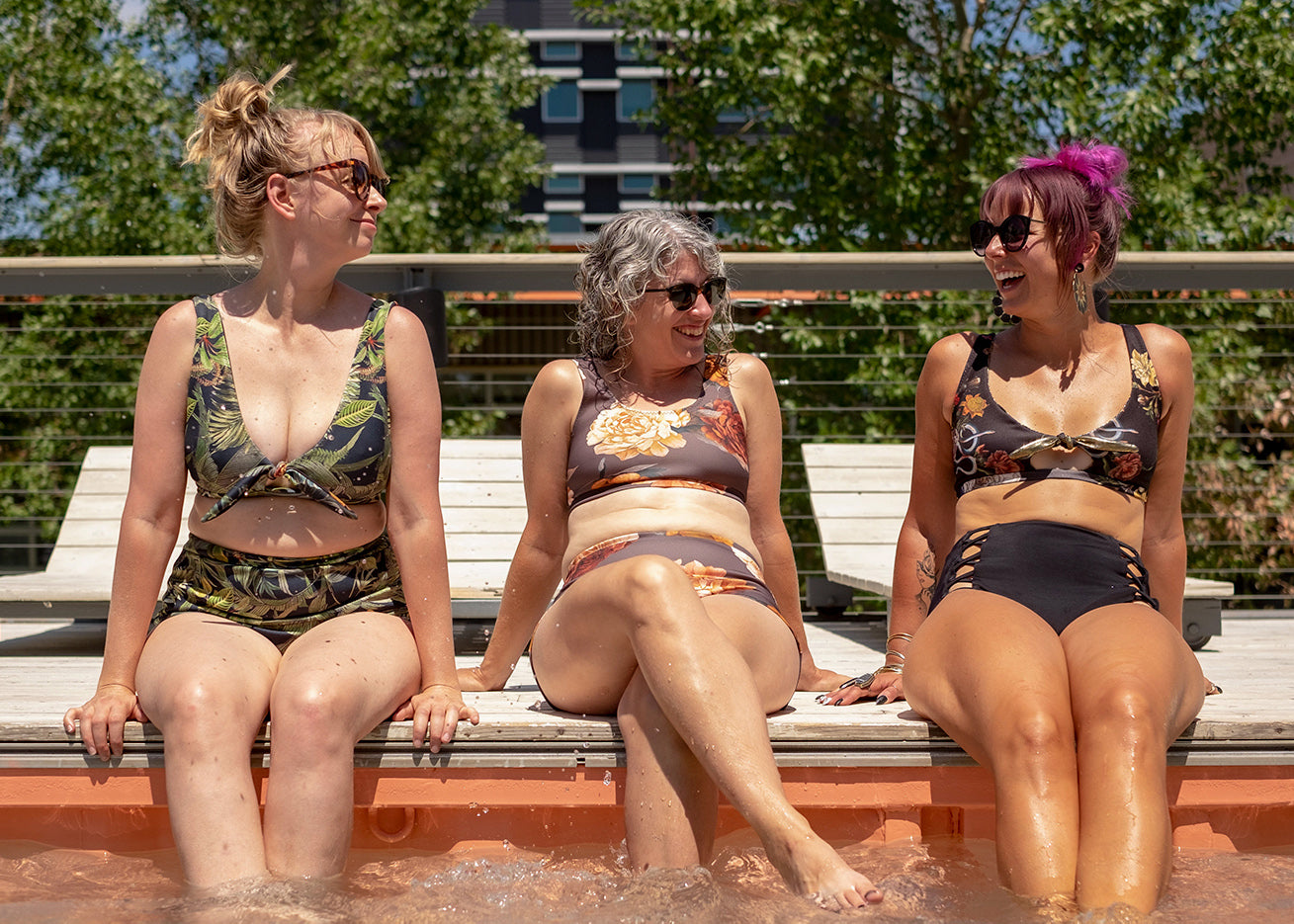 Full pic of ladies poolside in handmade swimsuits