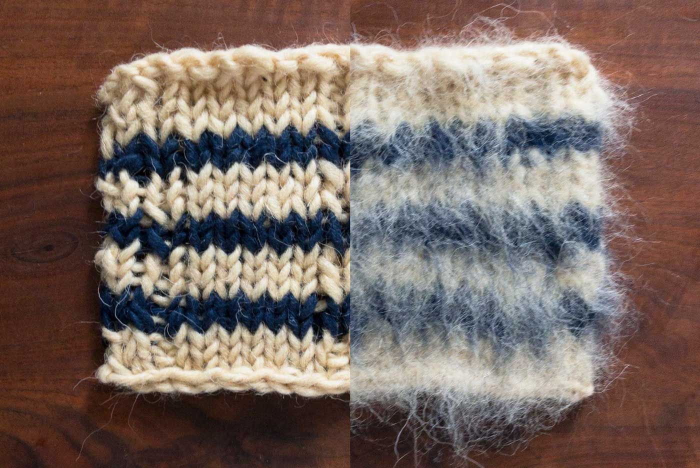 Cobertor yarn swatch, shown before and after brushing.
