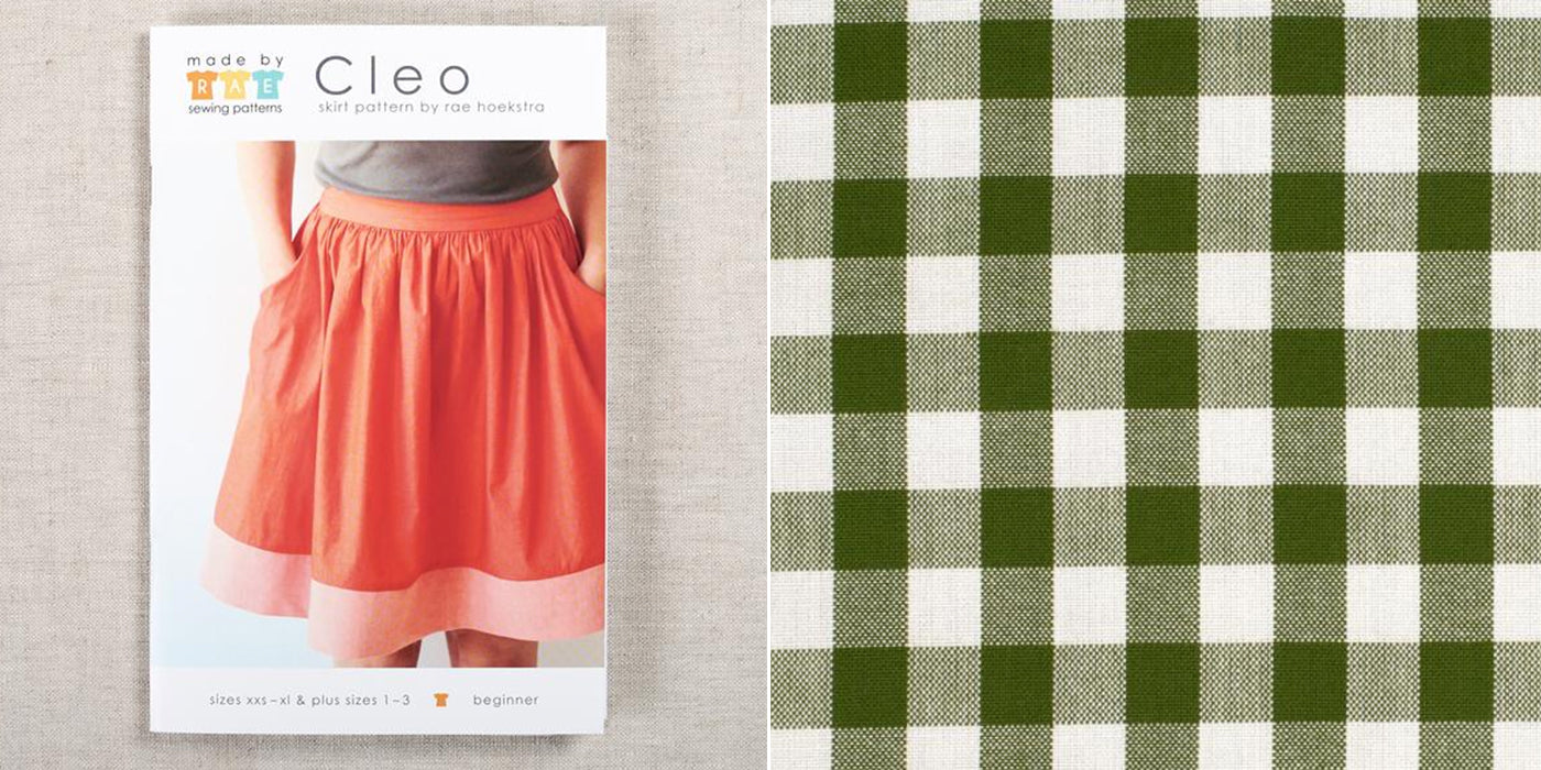 cleo skirt sewing pattern with gingham fabric