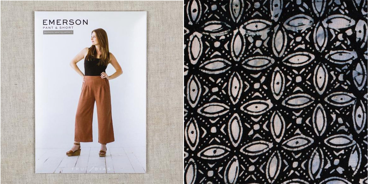 Emerson wide leg crop pants sewing pattern and batik rayon