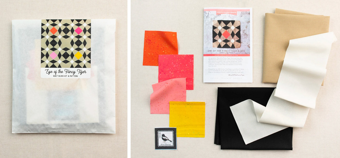 """On the left, a quilt kit packages in a glassine bag, the label shows a geometric quilt block in black, tan, white and pops of orange, pink and yellow. On the right, the kit is laid out showing the fabrics and patter included, as well as a small """"fabric token""""."""