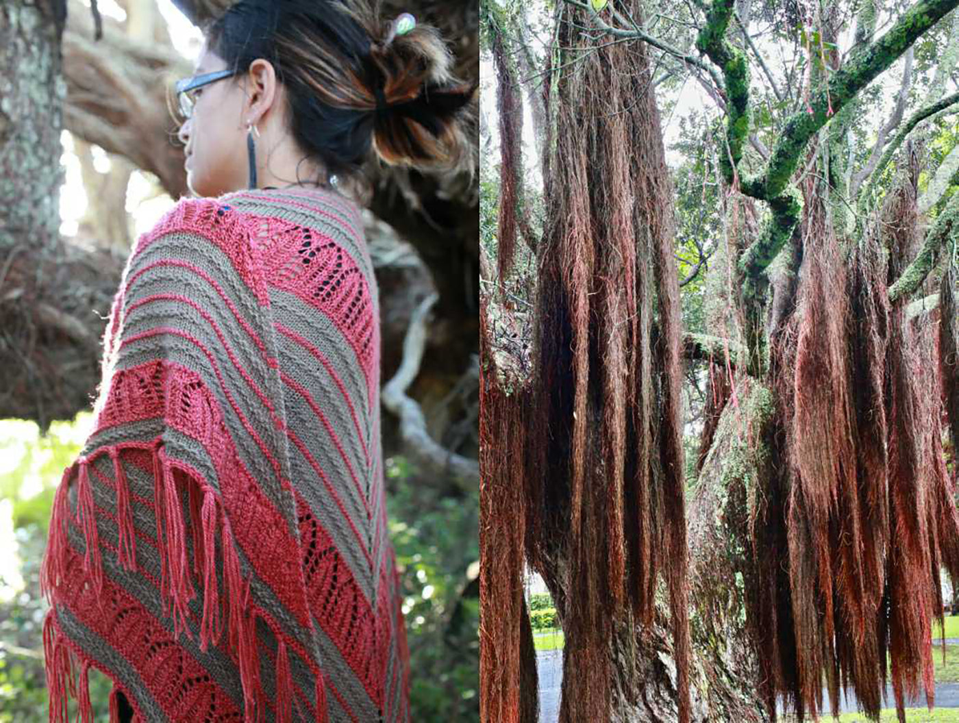 Two photographs.  Left photograph is a women wearing a knitted shawl in pink and tan.  Women is facing away from the camera to show the shawl with a left side profile.  Right side of the image is moss hanging from a tree in similar color palette, shape and drape.