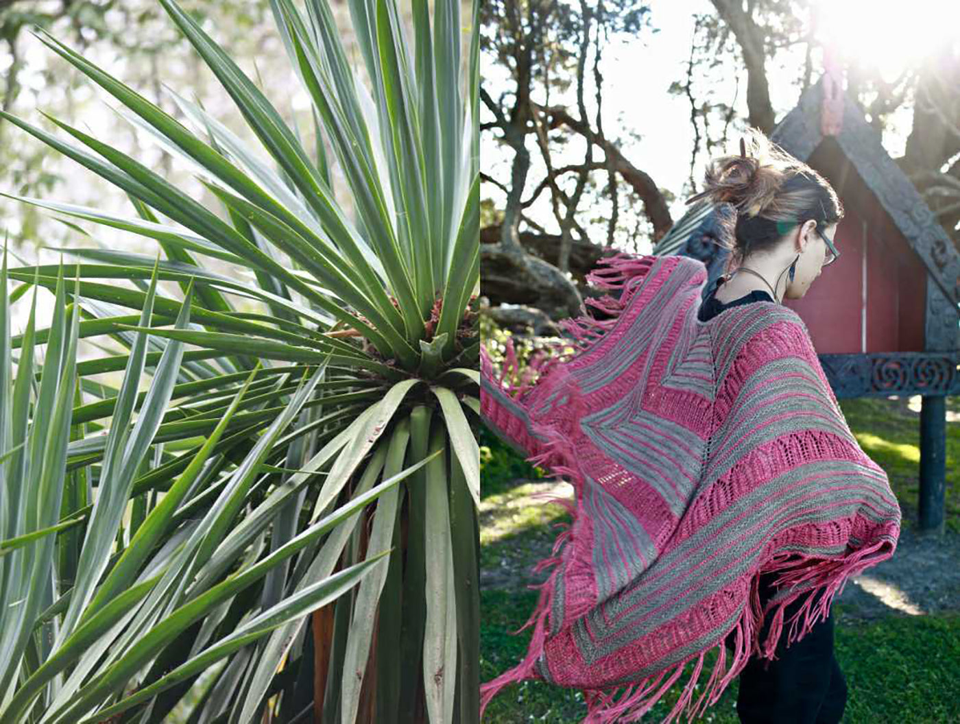 Split photograph.  Photograph on the left is green palm leaves.  Photograph on the right is women walking away  wrapped with her bright pink and tan knitted shawl slightly blowing in the breeze behind her.