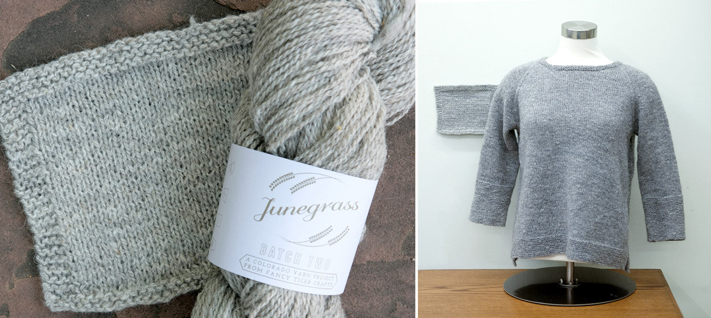 Junegrass Pullover and Batch Two swatch
