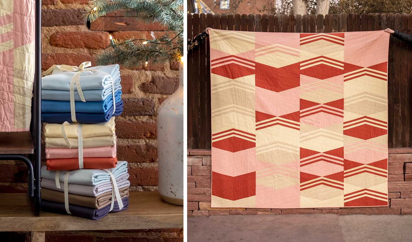Left: Bundles of solid fabrics in three colorways. Blues, Rosey colors, and neutral grey/browns. Right: A queen sized quilt being held up in front of a fence. It is a geometric, chevron and triangle pattern in rosey hues.