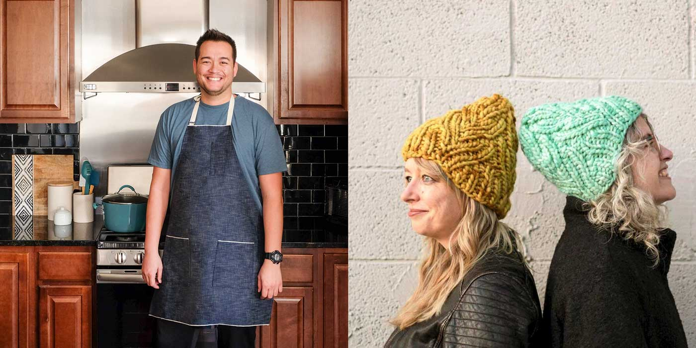 Left photo: Man standing in a kitchen wearing a denim full apron. Right Photo: Amber and Jaime wearing the Neighborhood Holiday Hat, a bulky hat with a faux cable rib stitch. One hat is mustard yellow and one is bright mint green.