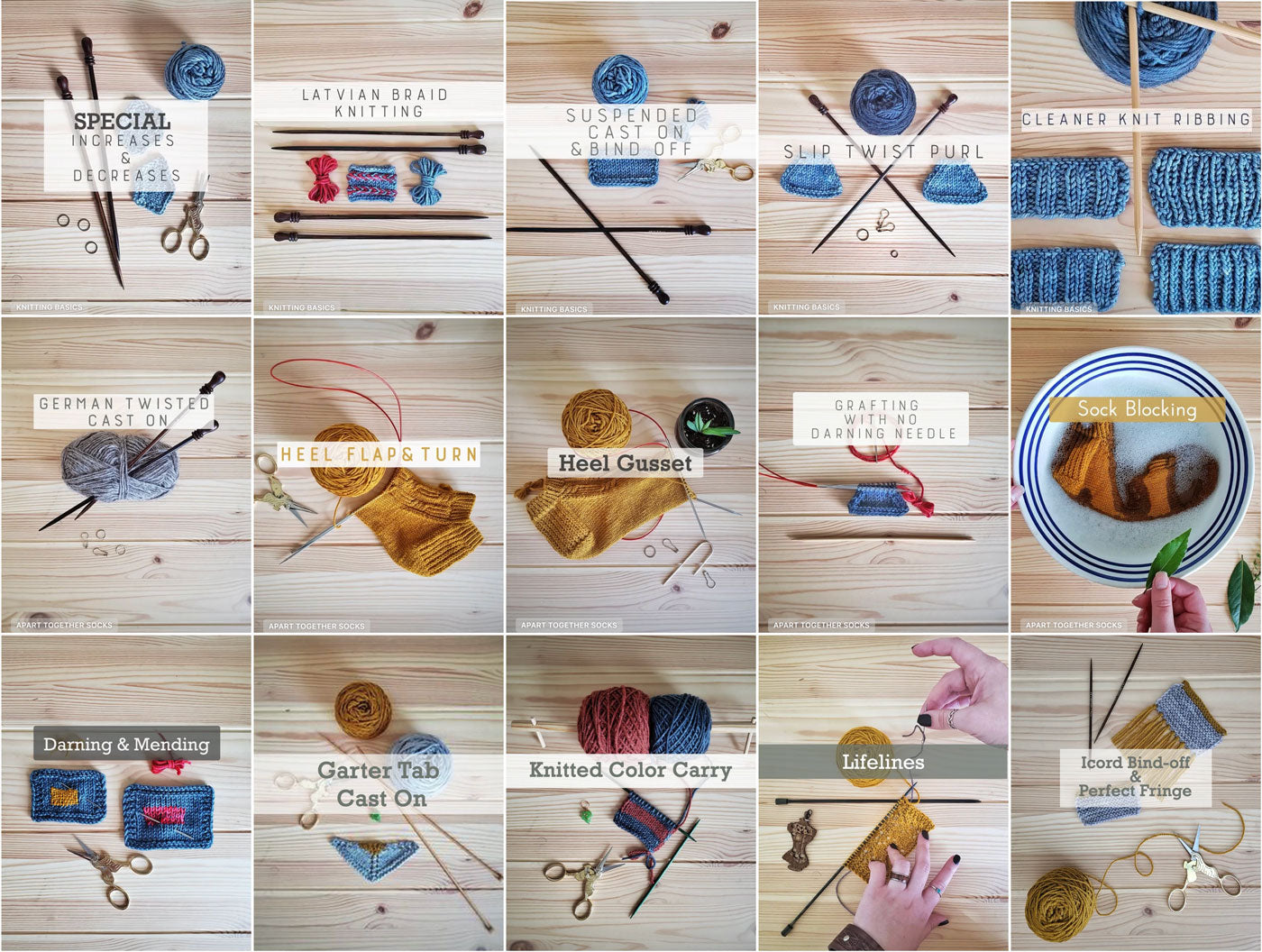 A tiled image of screenshots from 15 different knitting tutorials.