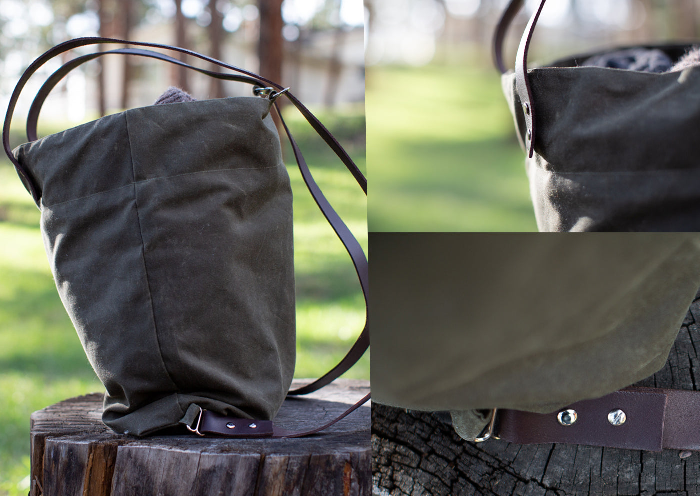 Collage images of the Costermonger backpack.  One is a side shot of the bag, one is the top rivets and bottom rivets of the bag.  The bag is outside sitting on a tree stump and the canvas bag is evergreen tree green, with dark leather straps.