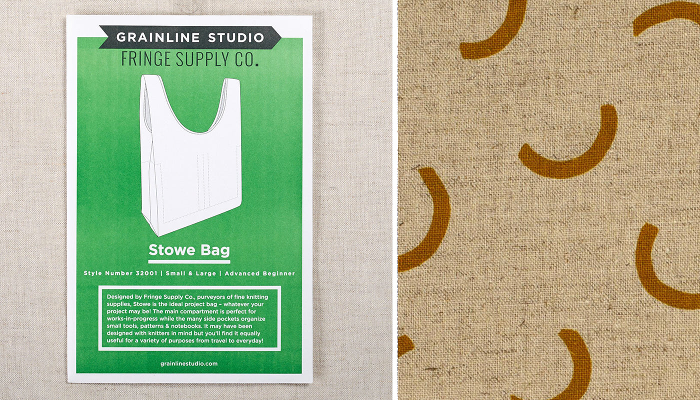 stowe bag sewing pattern with canvas fabric