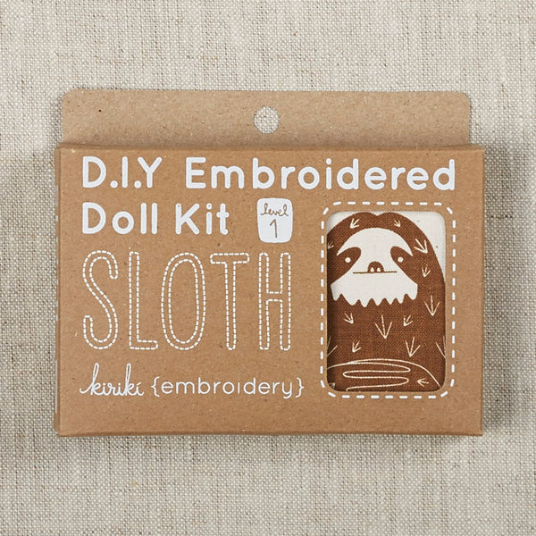 Sloth Embroidered Doll Kit