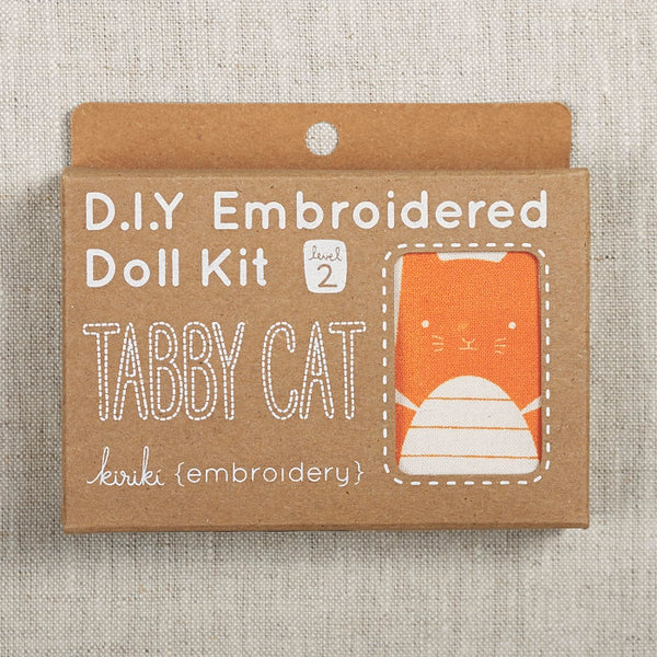 Tabby Cat Embroidered Doll Kit