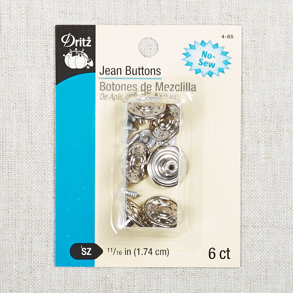 6 Jean Buttons Nickel
