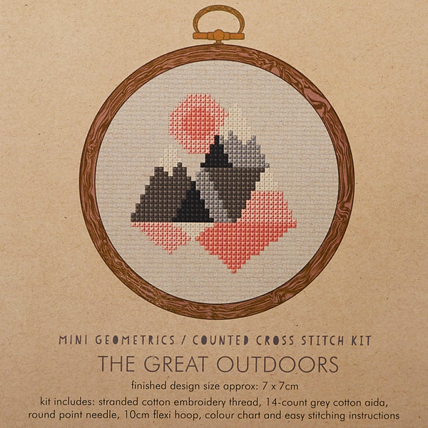 The Great Outdoors Pink/Grey Cross Stitch Kit