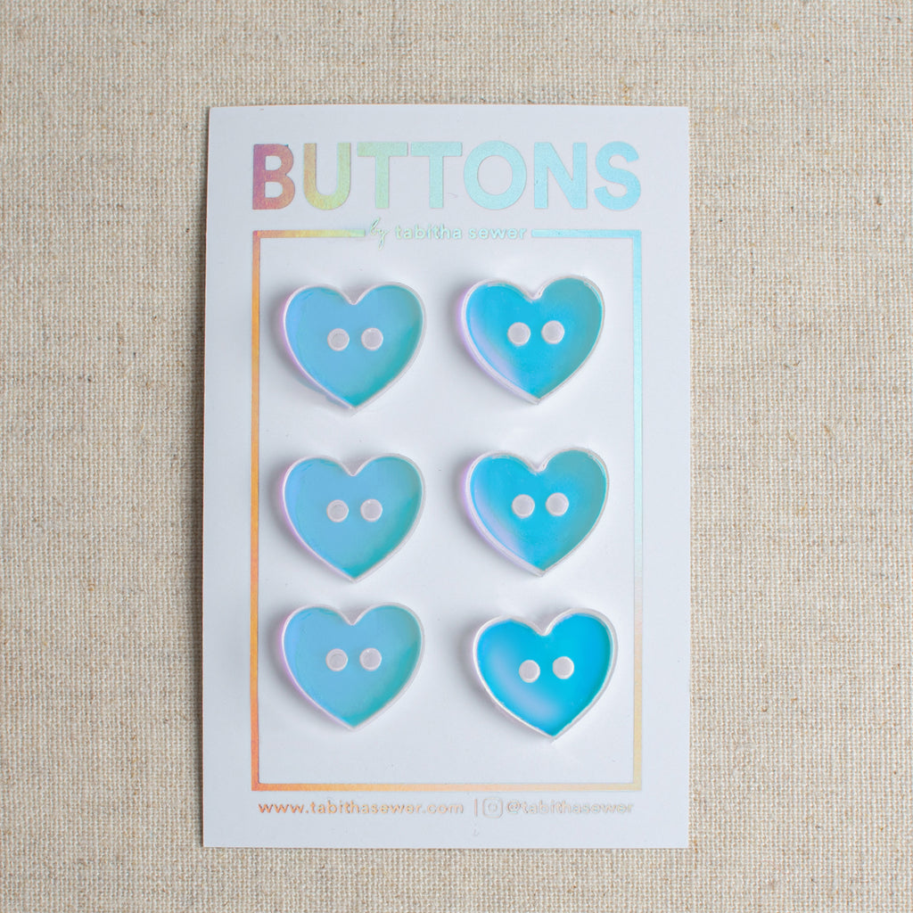 Iridescent Heart Buttons 15mm