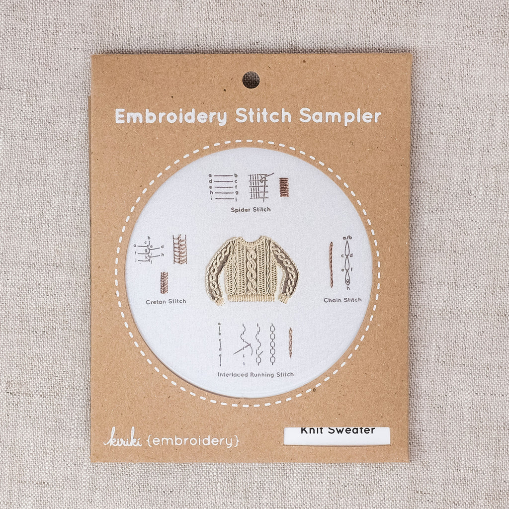 Knit Sweater Embroidery Stitch Sampler