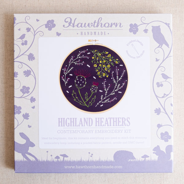 Black Highland Heathers Embroidery Kit