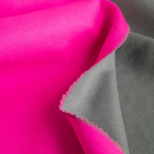 Hot Pink & Graphite Double-Faced Wool