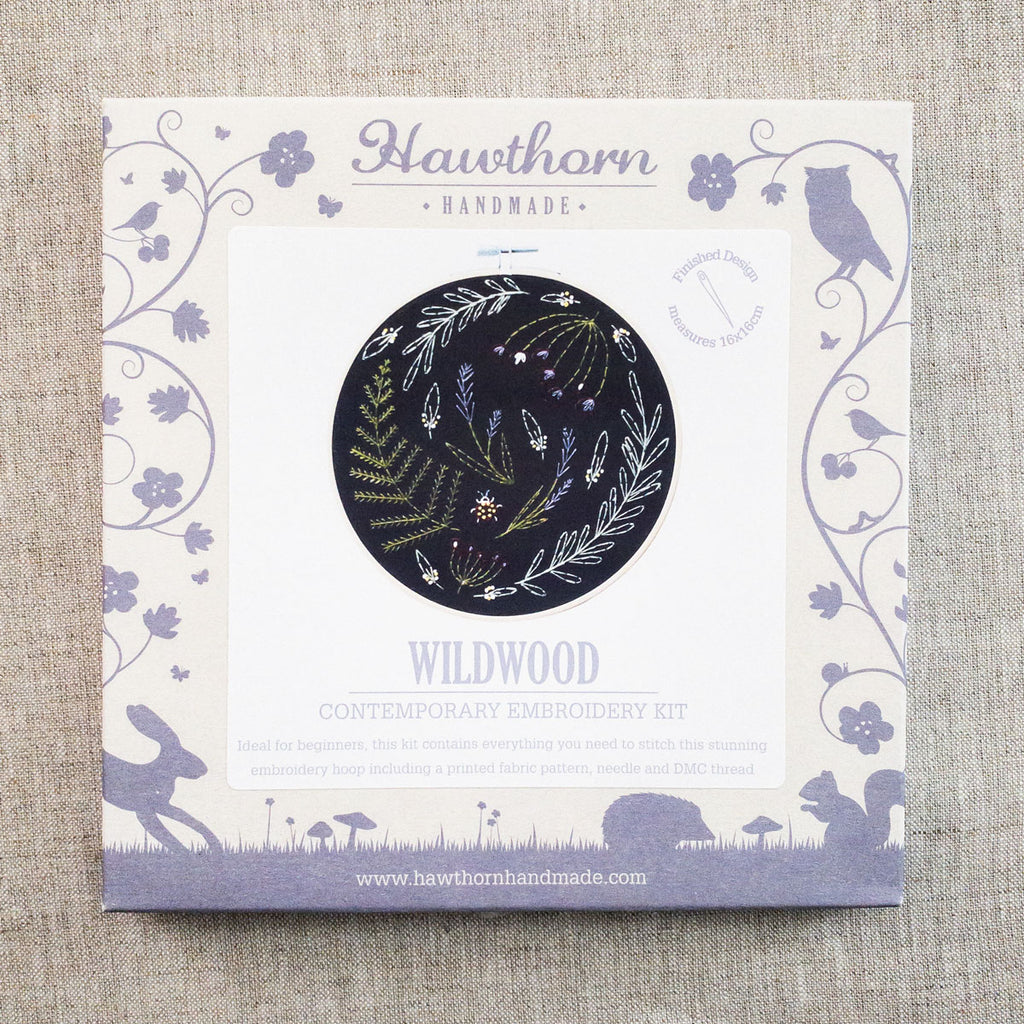 Black Wildwood Embroidery Kit