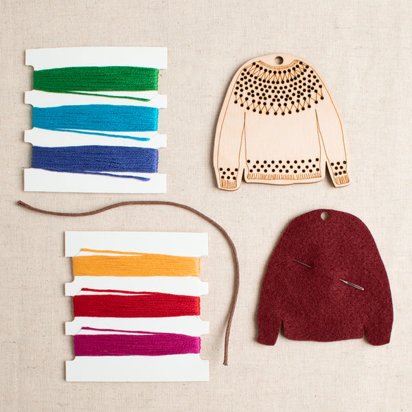 DIY Embroidered Sweater Ornament Kit