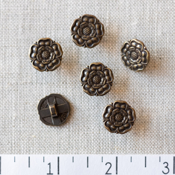 Flower Button Antique Brass