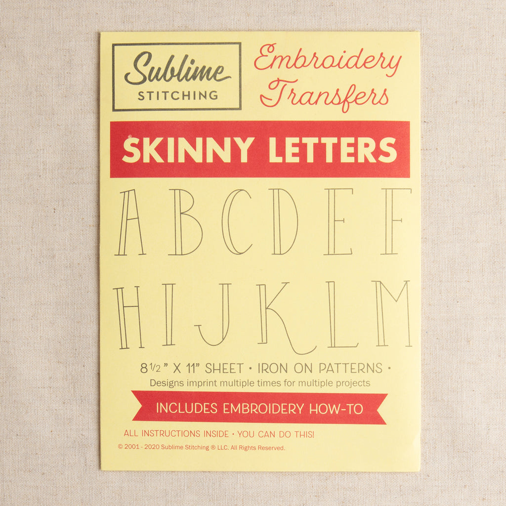Skinny Letters Embroidery Patterns